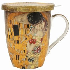 "Tea Mug w/Infuser and Lid Klimt ""The Kiss"""