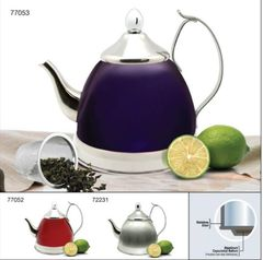 Nobili-Tea 1.0 Qt Stainless Steel Tea Kettle with Infuser Basket - Metallic Cranberry