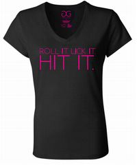 Women's Roll it Lick it Hit it T-shirt *Black