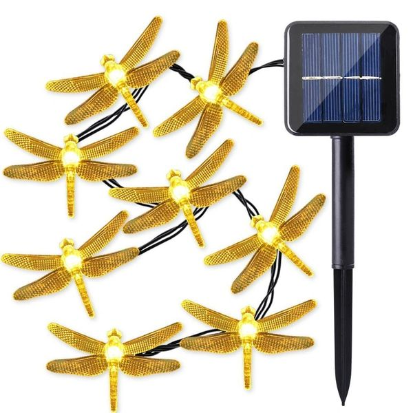 Quace Dragonfly Solar String Lights 6m20ft 30 Led Water Resistant