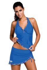 Contrast Trim Royal Blue Halter Tankini Skort Swimsuit