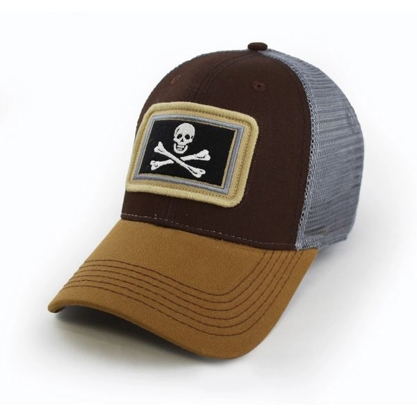 5f37e892f1df3a Everyday Trucker Hat, Structured, Calico Jack's Jolly Roger Flag, Timber  Brown | S.L. Revival Co - Americana Clothing/State Flag Hats - Free Ship
