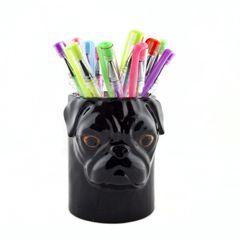 Pug Pen or Toothbrush Pot by Quail Ceramics in Black
