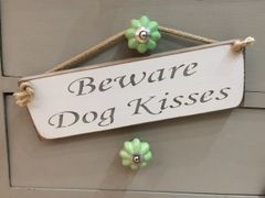'Beware Dog Kisses' Sign by Austin Sloan