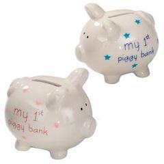 """Pink""""my first piggy bank"""""""