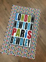 London, New York, Paris, Bewdley Tea-Towel