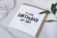 Let Your Birthday Be-gin Card by Abbie Worton