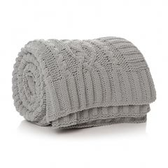 AL ISLA CABLE BLANKET in grey