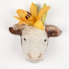 Hereford Bull Wall Vase by Quail Ceramics