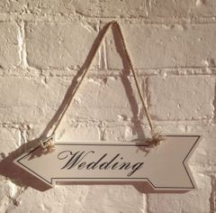 Wedding Arrow Sign On String