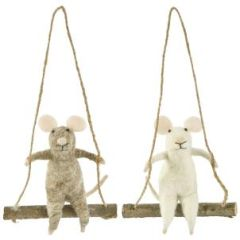 Felt mouse on a swing decoration - choose colour