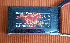 7.4 V 1000mAh 35C 2S1P Lipo Battery Pack Beast Power