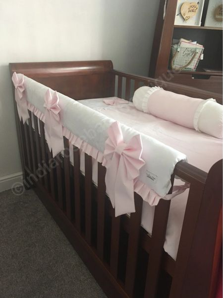 Stunning Pale Pink And White Baby Girls Cot Bedding India Rose