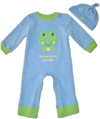 2-Piece Long Sleeve Jumper w/ Knotted Hat-blue