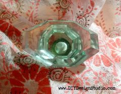 Knob, glass green HEX shape