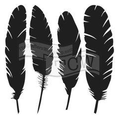 Stencil 4 Feathers 6x6