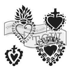 Stencil Regal Hearts 6x6