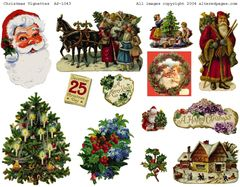 1043 Christmas Vignettes Digital Printable