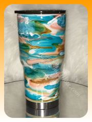 Turquoise Swirl Stainless Steel Tumbler