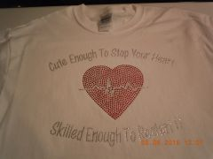 CUTE ENOUGH TO STOP YOUR HEART RHINESTONE BLING TEE