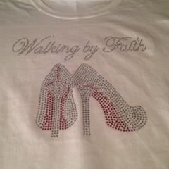 WALKING BY FAITH RHINESTONE BLING TEE
