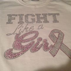 FIGHT LIKE A GIRL BREAST CANCER AWARENESS RHINESTONE BLING TEE