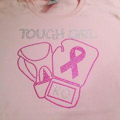 TOUGH GIRL KNOCKOUT BREAST CANCER AWARENESS RHINESTONE BLING TEE