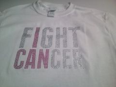 I CAN FIGHT CANCER AWARENESS RHINESTONE BLING TEE