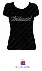 BRIDAL PARTY RHINESTONE BLING TEE - CHOOSE YOUR OWN TITLE