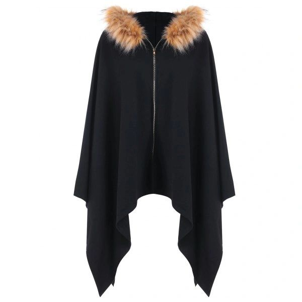 Fluffy Asymmetric Hooded Cape with Zipper Fly - Black