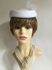 Vintage 1960s White Pillbox Hat With White Feather Detail To Rear 100% Visca