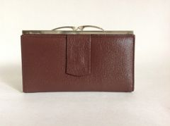 CARLO 1980s Brown Textured Leather Vintage Purse Wallet Leather Fabric Lining