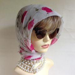 Chiffon Crepe Vintage Scarf White With Cerise Roses 61 X 32 Inches Rolled Hem
