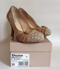 Dune Tan Suede & Spotted Beige Fabric 50s Style Court Shoes Original Box UK 5