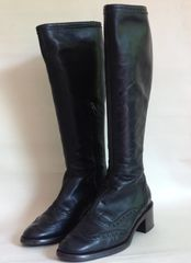Hobbs Black Brogue Leather Pull On Low Heel Boots Inside Ankle Zip Size UK 5 EU 38