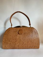 Vintage 1930s Large Handbag Tan Textured Pig Skin With Buff Suede Lining