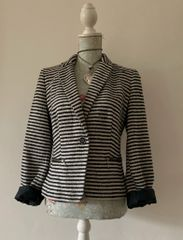 Atmosphere Black & Ivory Bouclé Cropped Polyester Mix Jacket Size 12