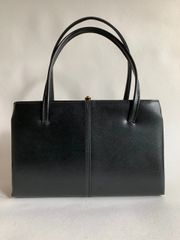 Salisbury 1950s Faux Leather Black Vintage Handbag Fabric Lining With Elbief Frame