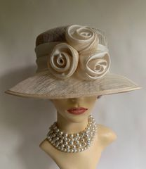 BHS Ivory And Natural Sinamay Hat With Three Rosettes And Ribbon Detail Church