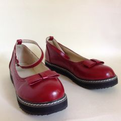 Claret Red Round Toe School Shoe Style Ankle Strap Shoes Buckle Up With Clips UK 6 EU 39