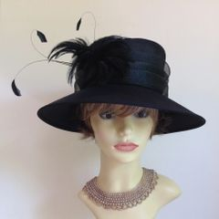 Denbies Black Silk Hat Small Brim Net Bow & Feather Detail Church Races Weddings