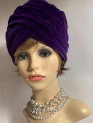 Vintage 1960s Purple French Style Velvet Turban Hat 22 Inches Fully Lined.