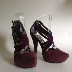 SCHUH Purple Mauve Snake Skin & Suede Platform Strappy Criss Cross Sandal Shoe Size UK 4 EU 37