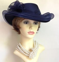 C & A Vintage 1990s Hand Made Blue Dress Hat Wedding Church Races With Mesh Ribbon &a Bow Detailing.