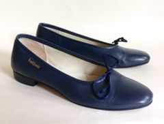 Russell And Bromley Blue Soft Leather Round Toe Ballet Flat Shoes Size UK 4 EU 37