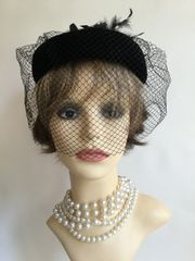 Vintage 1960s Black Viscose Velvet Pillbox Calot Hat Face Net And Rear Plumage Detail