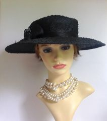 Balfour Ramie Large Brim Hat With Flower & Bow Detail & Raised Spot Pattern Church Wedding