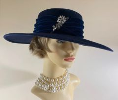 Marida Blue 100% Wool Felt Wide Brim Hat Fedora Blue Velvet Ribbon