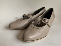 EQUITY Vintage 1960s Taupe Leather Mary Jane Court Shoe UK 6 EU 39