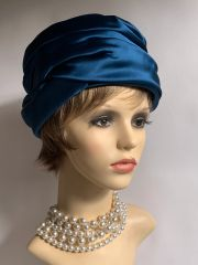 Sunson For Grants Bros Croydon Vintage 1960s Teal Satin Pleat Turban Hat & Box